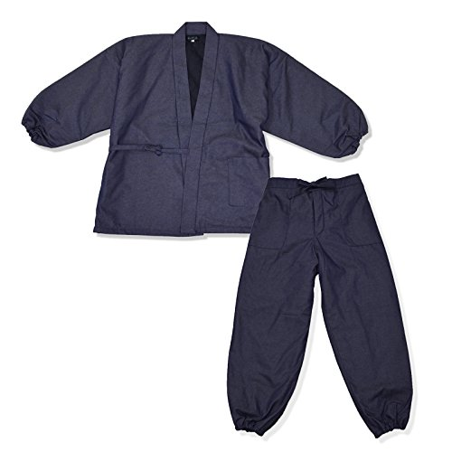 wasuian Men's Samue Working Clothes Quilted Cotton Denim Large Middle Navy