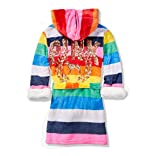 VS Pink Sherpa Lined Robe Rainbow Stripes with Gold Sequins (XS/S)