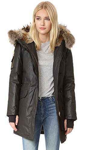 817iTea8PFL Natural Sheared Rabbit Fur Hood Lining and Natural Raccoon Fur Hood Trim Egyptian Cotton Twill Fabric with Three Layer Polyurethane Resin Treatment Wind Resistant and Water Repellent Coating