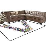 Letter V Kids Carpet Play-mat Rug Butterfly Font Lepidoptera Tropical Animals Spring Summer Vibes Vibrant Design Room Home Bedroom Carpet Floor Mat 6'6' x9' Multicolor