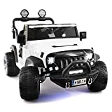 Two (2) Seater Ride On Kids Truck w/ Remote Control | Large 12V Power Battery Licensed Kid Car to Drive with 3 Speeds, Leather Seat, Foam Rubber Tires - White