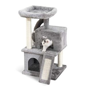 PAWZ Road Cat Tree Luxury Cat Tower with Double Condos, Spacious Perch, Fully Wrapped Scratching Sisal Post and Replaceable Dangling Balls Gray 13