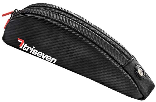 TriSeven Aero 30 Carbon Cycling Frame Bag - Lightweight Storage for Triathlons & MTB | Holds Large Cell Phones, Wallets, 10 Gels, Pump, Tools and More!