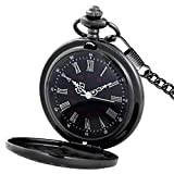 Product review of MJSCPHBJK Black Pocket Watch Roman Pattern Steampunk Retro Vintage Quartz Roman Numerals Pocket Watch