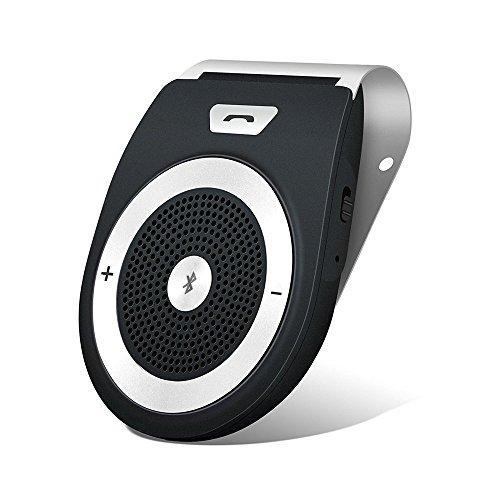 Bluetooth Car Speakerphone, Aigital Wireless Hands-Free Speaker Motion AUTO Power ON Car Receiver Sun Visor Music Player Adapter Built-in Microphone for Handsfree Talking - Black