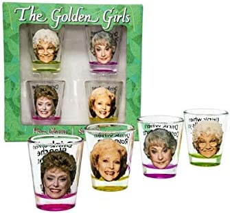 Golden Girls Shot Glasses | Fun Drinking Games | Set Of 4 Collectible Glasses | Perfect For Parties, Game Night, Bachelor Bachelorette Party, College Graduation, Birthday Gift