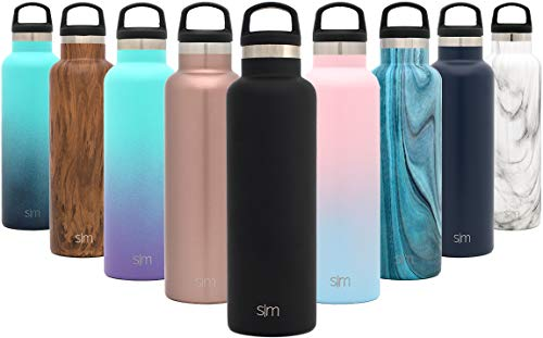 Simple Modern 20oz Ascent Water Bottle - Hydro Vacuum Insulated Tumbler Flask w/Handle Lid - Double Wall Stainless Steel Reusable - Leakproof -Midnight Black