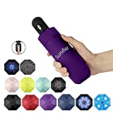 Automatic Travel Umbrella Compact Mini Umbrella Windproof Folding Rain Umbrella Auto Open/Close Lightweight Small Umbrellas for Women Men Kids (Purple)