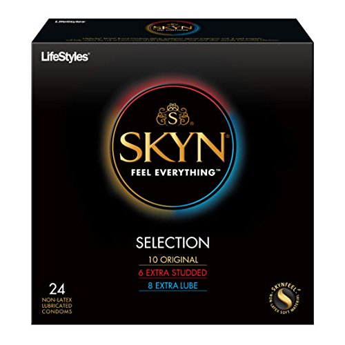 Lifestyles SKYN Selection Sampler, Premium Lubricated NON-LATEX Polyisoprene Condoms with Silver Pocket/Travel Case-24 Count