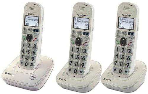 Clarity D704 Moderate Hearing Loss Cordless Phone with D704HS Expandable Handsets (D704 with (2) D704HS)