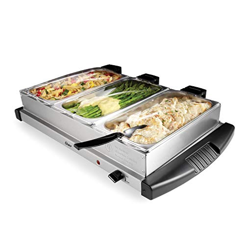 Oster Buffet Server Warming Tray | Triple Tray, 2.5 Quart, Stainless Steel - CKSTBSTW00
