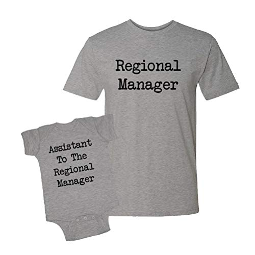Regional Manager & Assistant to The Regional Manager - Baby Bodysuit & T-Shirt Matching Set (Heather, Large/12M)
