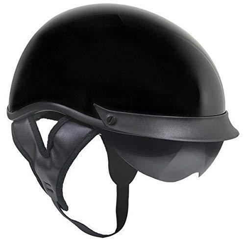 Outlaw T-72 Black Glossy Dual-Visor Motorcycle Half Helmet - 2X-Large