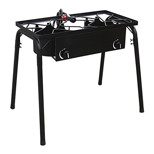 XtremepowerUS Outdoor Double high pressure Burner Stand Stove Propane Gas Cooker W/ Regulator