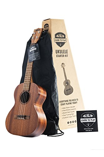Official Kala Learn to Play Ukulele Tenor Starter Kit, Satin Mahogany - Includes online lessons, tuner app, and booklet (KALA-LTP-T)