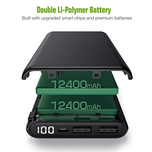 Kiponen Power Bank 24800mAh Caricabatterie Portatile [con LED Digitale Display] Batteria Esterna Carica Veloce Batteria Portatile 2 USB Porte per Cellulare,Tablet (Nero)