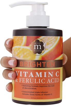 Mirth Beauty Vitamin C Cream for Face and Body. Intensive moisturizer with Coconut Oil, and Aloe Vera for age spots, skin discoloration, and dry skin. Large 15 Fl oz jar with pump.