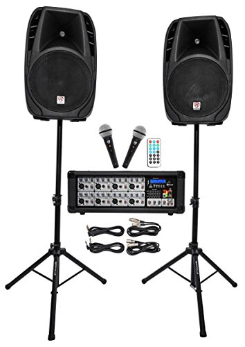 Rockville RPG2X15 Package PA System Mixer/Amp+15' Speakers+Stands+Mics+Bluetooth