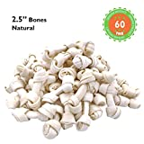 MON2SUN Dog Rawhide Knot Bones Natural 2.5 Inch 60 Count for Puppy and Small Dogs