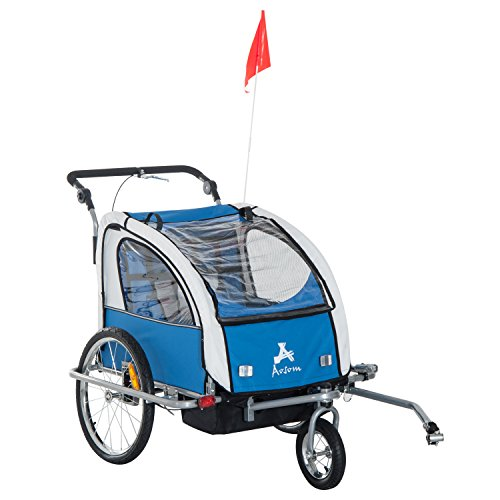 Aosom Elite II 3in1 Double Child Bike Trailer, Blue