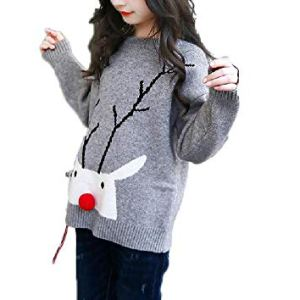 BCVHGD Winter Girls Sweater Christmas Clothes Cotton Knitted Sweater for Girl Kids Tops Outwear 3-12 Years