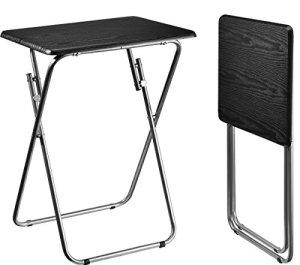 Aingoo Folding TV Trays Snack Metal Dinner Tray Small Side Table Black (2 TV Tray-Wood Print)