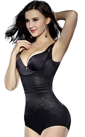 Sunzel Body Shaper, Women's Body Briefer Smooth Wear - Your Own Bra Slimmer Shapewear Bodysuits (Large, Modern Black)