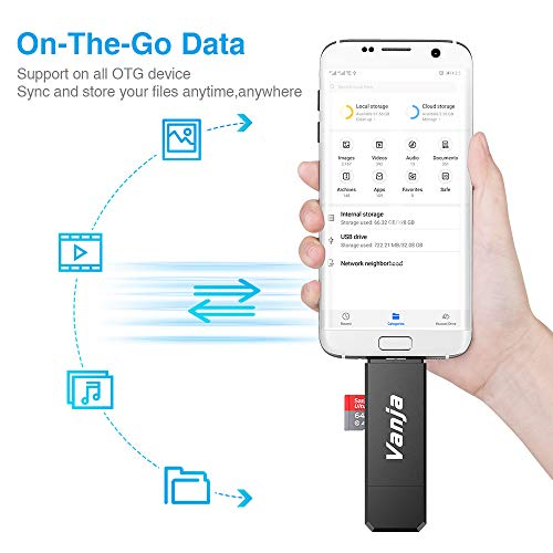 41T2QvOaXwL - Vanja Micro USB OTG Adapter and USB 2.0 Portable Memory Card Reader for SDXC, SDHC, SD, MMC, RS-MMC, Micro SDXC, Micro SD, Micro SDHC Card and UHS-I Card