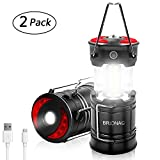 Rechargeable LED Camping Lantern, Brionac Newest Magnetic Lantern Tent Light 4-In-1 Flashlight with USB Cable, Best for Emergency, Hurricane, Power Outage - 2 Pack