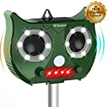Wikomo Ultrasonic Pest Repeller, Solar Powered Outdoor Animal Repeller with Ultrasonic Sound, Waterproof Motion Sensor and Flashing Light pest Repeller for Cats, Dogs, Squirrels, Moles, Rats