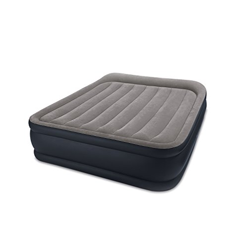 Intex Dura-Beam Standard Series Deluxe Pillow Rest Raised Airbed w/Soft Flocked Top for Comfort, Built-in Pillow & Electric Pump, Bed Height 16.5', Queen