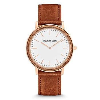 Original Grain Zebrawood Rosegold Wood Watch - Minimalist Collection Analog Watch - Japanese Quartz Movement - Wood and Stainless Steel - Water Resistant - Zebrawood Wrist Watch - 40MM