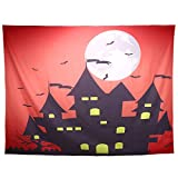 Lewondr Halloween Printed Tapestry, Wall Hanging Blanket Halloween Moon Tapestry Halloween Bat Tapestry for Living Room Bedroom Dormitory Home Festival Decoration 78 x 59, Large, Castle, Orange