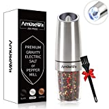 Gravity Electric Pepper Grinder or Salt Grinder Mill【2019 Newest】- Battery Operated Automatic Pepper Mill with White Light, One Handed Operation, Adjustable Coarseness, Stainless Steel by AmuseWit