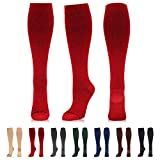 NEWZILL Compression Dress Sock (15-20mmHg) for Men & Women - Cotton Rich Comfortable Socks - Best Stockings for Business Casual, Running, Medical, Athletic, Edema, Diabetic (S/M, Red)