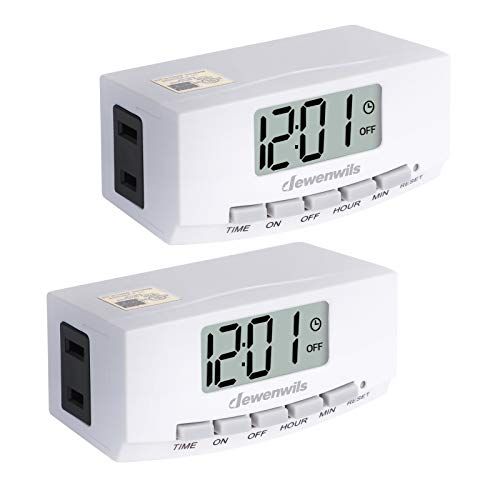 DEWENWILS 2 Pack Indoor Outlet Lamp Timer, Digital Programmable Plug-in Light Timer Switch with1 Polarized Outlet, Space Saving Bar Timer for Lamps, Grow Lighting,1/2 HP, White