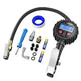 DYTesa Digital Tire Inflator Pressure Gauge,Digital Heavy Duty 250 PSI Air Chuck and Compressor Accessories with Rubber Hose and Measure Accuracy of 0.1 Display Resolution,Quick-Connect Fitting
