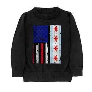 HJKNF58Q Chicago American USA Flag Pride Sweater Youth Kids Funny Crew Neck Pullover Sweatshirt