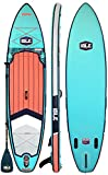 ISLE Airtech Inflatable 11ft Explorer Stand Up Paddle Board (6' Thick) iSUP Package | Includes Adjustable Travel Paddle, Carrying Bag, Leash, Pump (Aqua, 11')