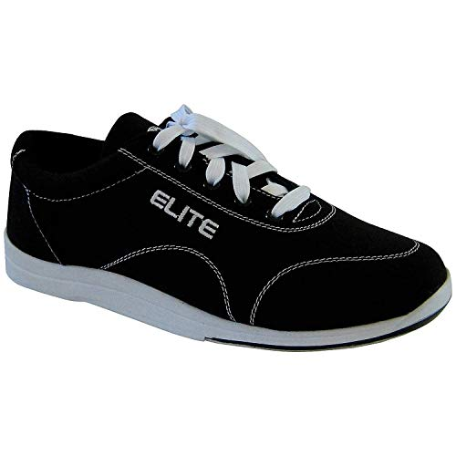 Elite Men's Casual Bowling Shoes - Quality & Comfortable - Universal Slide Sole for Left & Right Handed Bowlers (Size 9.5) Black