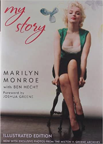 Marilyn Monroe sitting on a black chair. Cover of her book, My Story.