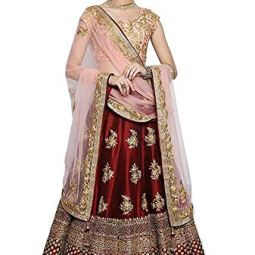 Maruti Fashion Women's Satin Semi-stitched Lehenga Choli (Maroon Pari_Red_Free Size)
