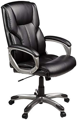 AmazonBasics High-Back Executive Swivel Chair - Black with Pewter Finish