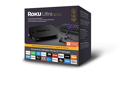 Roku Ultra | HD/4K/HDR Streaming Media PlayerVoice Remote, Remote Finder &USB.Now includesPremium JBL Headphones. (2018)