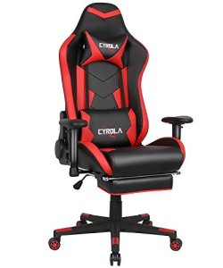 Cyrola Gaming Chair for Adults PC Racing Gamer Video Game Chair High Back 90-180 Adjustable 360 Swivel Ergonomic Computer Gaming Chair with footrest and Lumbar Support Red Black