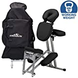 STRONGLITE Portable Massage Chair Ergo Pro II - Ultra-Strong, Lightweight, Folding Tattoo Spa Massage Chair with Wheels & Carry Case (600lbs Working Weight)