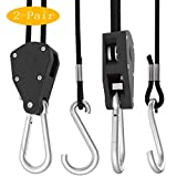 TAURUSY 2-Pair 1/8 Inch 8-Feet Long Adjustable Heavy Duty Rope Clip Hanger for Grow Light Fixtures & Gardening with Reinforced Metal Internal Gears,160lb Capacity 4 PCS