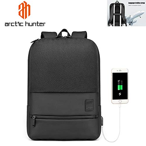 41TP rHfEgL - AH Arctic Hunter 15.6 Polyester Laptop Backpack for Business, Office & Travel with 3 compartments & External USB Charging Port, Water Repellent & Scratch Resistant (Black)