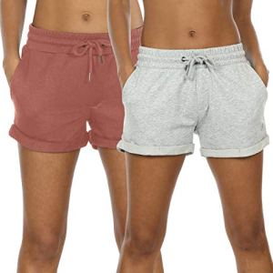 icyzone Workout Lounge Shorts for Women - Athletic Running Jogging Cotton Sweat Shorts(Pack of 2) 11 Fashion Online Shop Gifts for her Gifts for him womens full figure