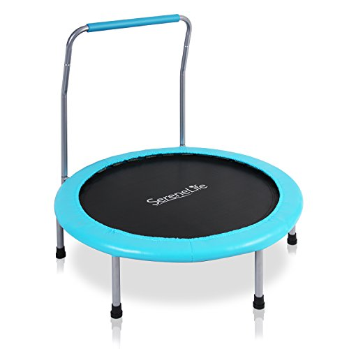 """SereneLife Portable & Foldable Trampoline - 36"""" Dia Springfree Rebounder Jumping Mat Safe for Kid w/Padded Frame Cover and Handlebar and Carry Bag - SLELT367"""